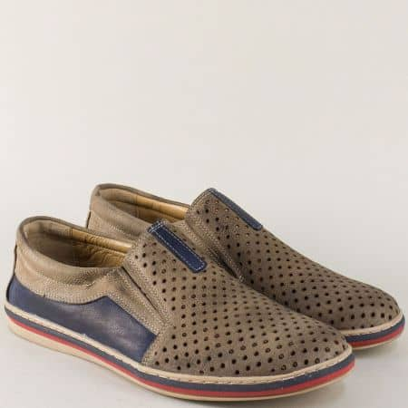 Кожени мъжки обувки в бежов и син цвят с перфорация 441045dpsbj