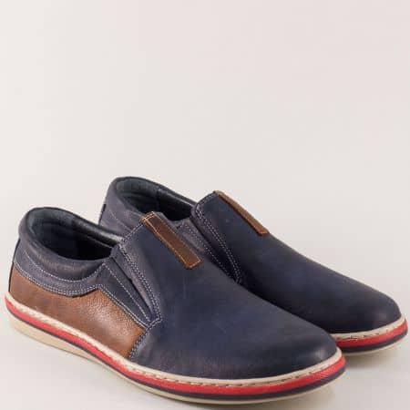 Шити мъжки обувки с два ластика в синьо икафяво 441045pss