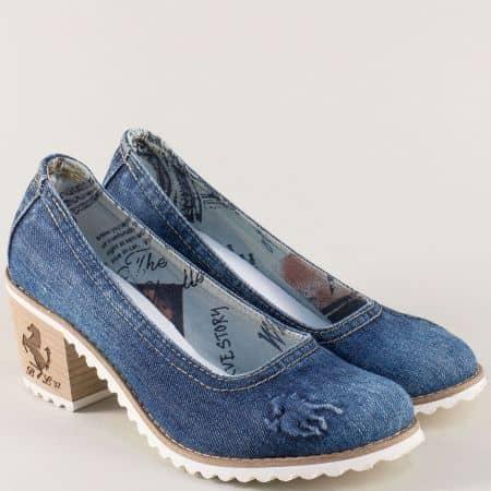 Дамски обувки от син деним на висок ток с кожена стелка 444ds