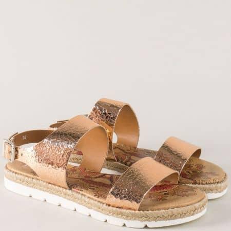 Бронзови дамски сандали на комфортно равно ходило от естествена кожа 446004brz