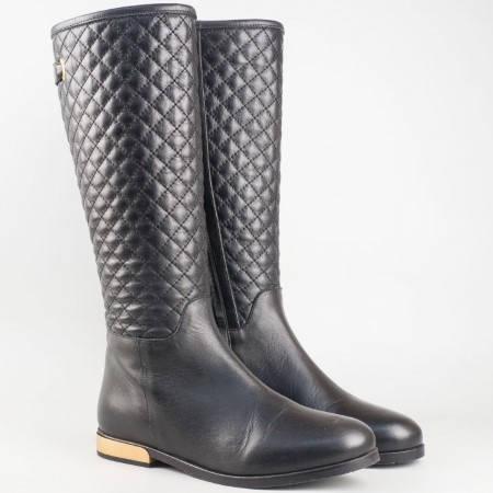 Дамски ежедневни ботуши изработени от висококачествена естествена кожа на българския производител Ingiliz в черен цвят 4473ch