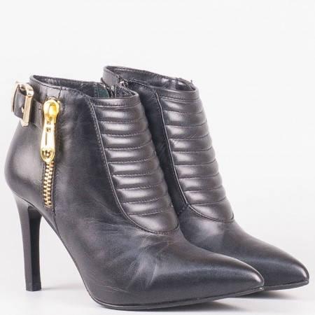 Дамски стилни боти на висок ток от изцяло естествена кожа на български производител в черен цвят 4487ch