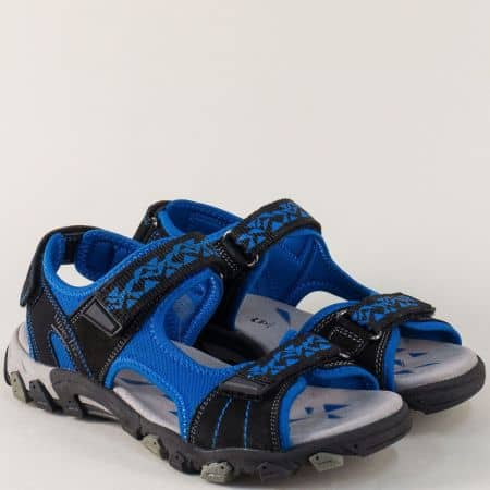 Юношески сандали с три лепки в черно и синьо 44902ch