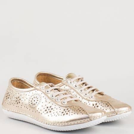 Перфорирани шити дамски обувки с връзки в златно от естествена кожа изцяло 451zl