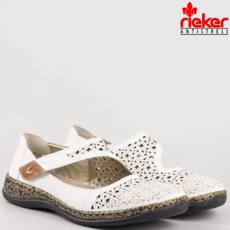 Шити бели дамски обувки с перфорация и лепка от естествена кожа на швейцарския производител Rieker 46376b