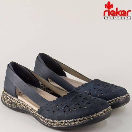 Шити дамски обувки от син естествен набук с перфорация 46397ns