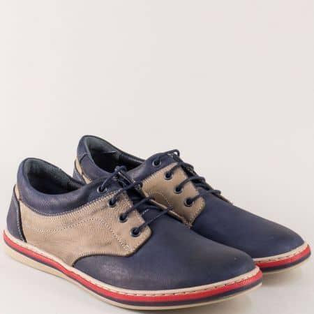 Шити мъжки обувки с връзки в бежово и синьо 471045pss
