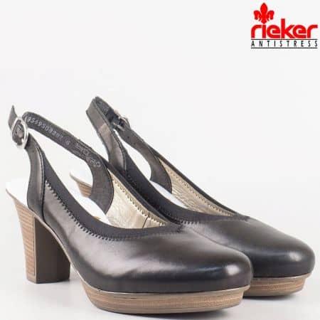 Дамски обувки на висок ток от черна естествена кожа на швейцарският производител Rieker  47371ch
