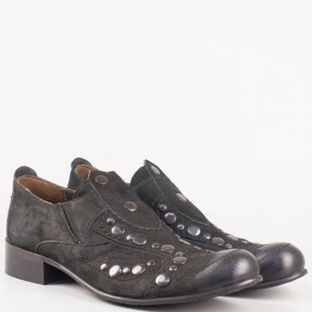 Дамски комфортни обувки изработени от 100% естествени материали - набук и кожа на български производител в черен цвят 4803vch