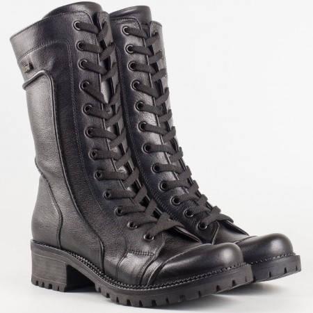 Дамски есенни боти изработени от висококачествена естествена кожа в черен цвят 4901ch
