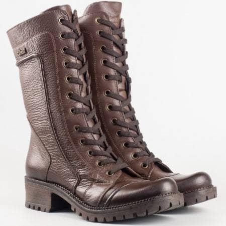Дамски комфортни боти изработени от висококачествена естествена кожа в тъмно кафяв цвят 4901kk