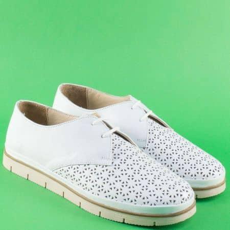 Равни дамски обувки с връзки от бяла естествена кожа 498b