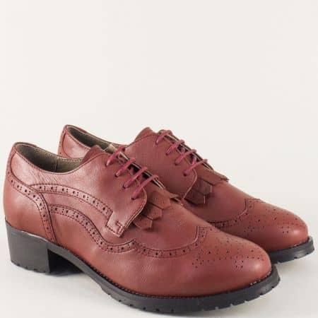 Дамски обувки в цвят бордо от естествена кожа 5001000bd