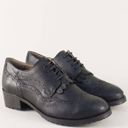 Кожени дамски обувки на нисък ток в черен цвят 5001000ch