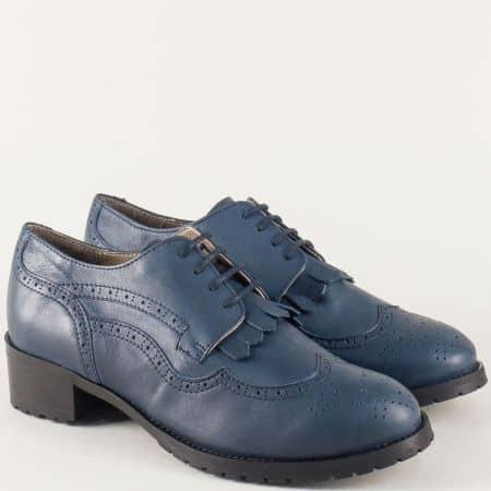 Сини дамски обувки с връзки и швейцарски мотив 5001000s
