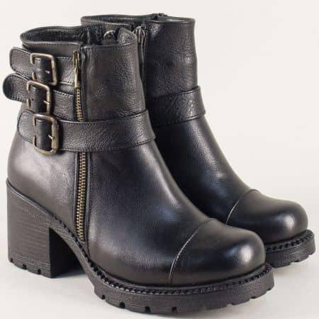Дамски атрактивни боти изработени от висококачествена естествена кожа с грайфер в черен цвят n500ch