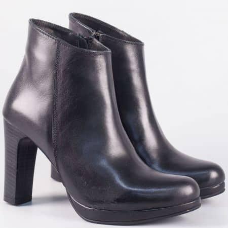Български дамски  боти на висок ток от черна естествена кожа 50592ch