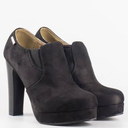 Дамски стилни обувки на висок стабилен ток и платформа в черен цвят 5073vch