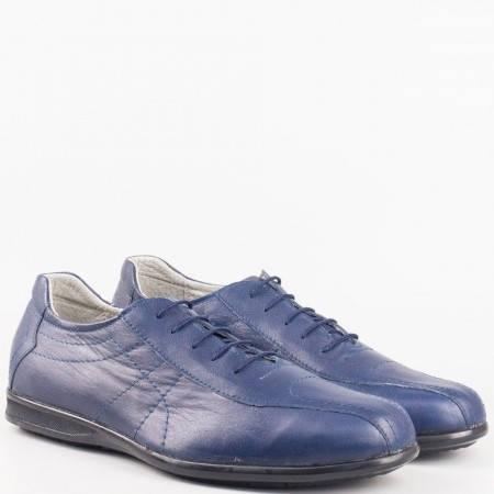 Мъжки стилни обувки от естествена кожа на български производител в син цвят 50871503s
