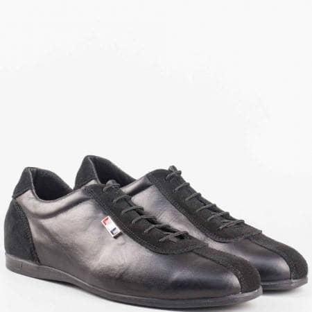Мъжки спортно-елегантни обувки изработени от висококачествена естествена кожа и велур на български производител в черен цвят 52901305vch