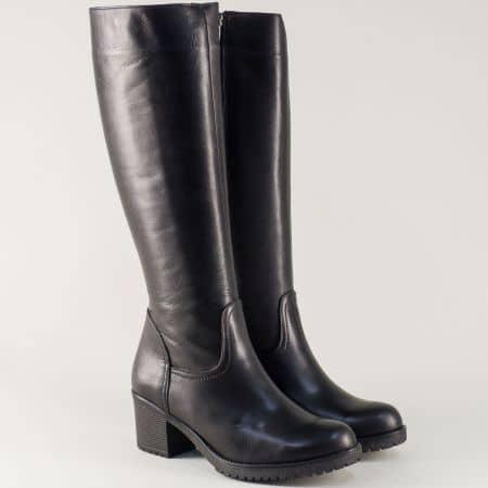 Дамски ботуши на среден ток изработени от естествена кожа в черно 5130770ch