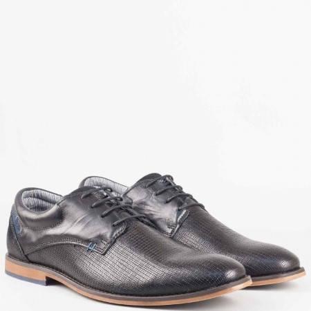 Мъжки елегантни обувки от естествена кожа на немския производител s.Oliver в черен цвят 513200ch
