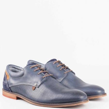 Мъжки стилни обувки произведени от висококачествена естествена кожа на немския производител s.Oliver в син цвят 513200s