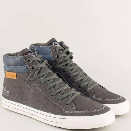 Спортни мъжки обувки S. Oliver на шито ходило в сив цвят 515207sv