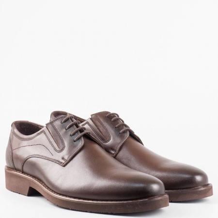 Мъжка кафява елегантна обувка от висококачествена естествена кожа с връзки и ластици  5153kk
