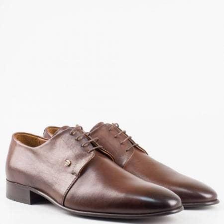 Мъжки eлегантни обувки от висококачествена естествена кожа в кафяв цвят 516021kk