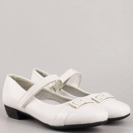 Елегантни бели детски обувки с тънка каишка 516b