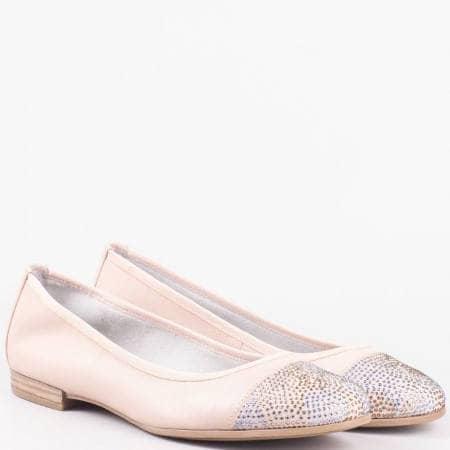 Дамски стилни балерини произведени от висококачествена естествена кожа с декоративни камъчета на известната немска марка S.Oliver в бежов цвят 522116rz