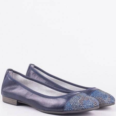 Дамски балерини от висококачествена естествена кожа и текстил с камъчета на немския производител S.Oliver в син цвят 522116s