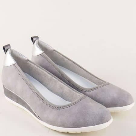 Дамски обувки в сиво S. Oliver на клин ходило 522302sv