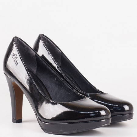Елегантни, луксозни дамски обувки S.Oliver на висок ток и платформа 522400lch