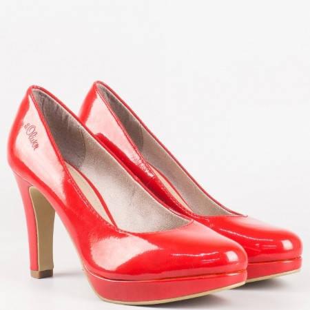Дамски елегантни обувки на висок ток в червен цвят на известната марка S.Oliver 522400lchv