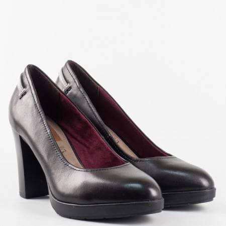 Дамски ежедневни обувки със стилна визия на висок ток от естествена кожа на немски производител S.Oliver 522404ch