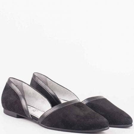 Фешън дамски обувки- S. Oliver от  естествена кожа и естествен велур в черен цвят 524214vch