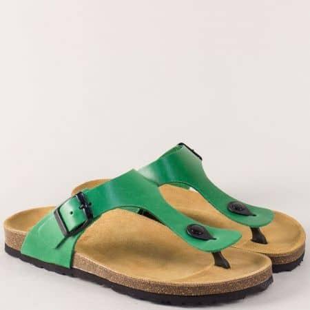 Български дамски чехли в зелен цвят от естествена кожа 5250tz
