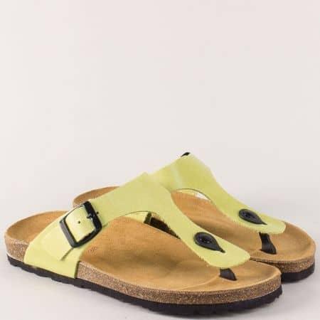 Жълто- зелени дамски чехли с кожена стелка и катарама 5250z