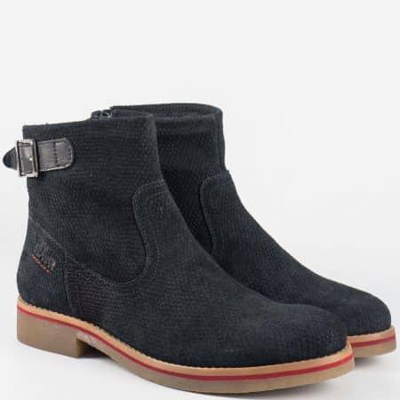Велурени дамски боти на каучуково ходило- S.Oliver в черен цвят 525407vch