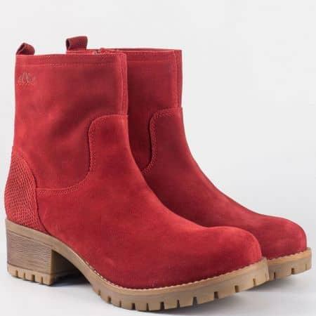 Модерни дамски боти от естествен велур в червен цвят с каучуково ходило 525433vchv