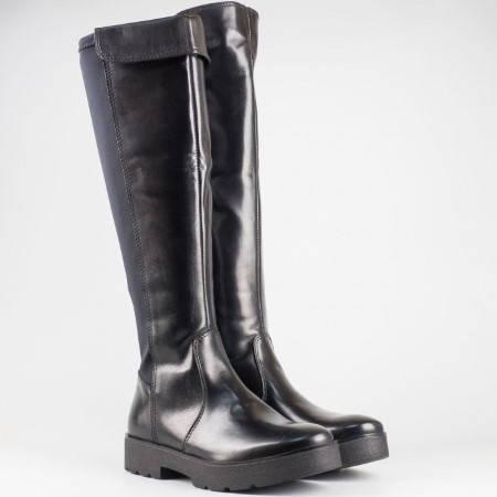 Дамски комфортни ботуши от естествена кожа и стреч материал на немския производител S.Oliver в черен цвят 525609ch