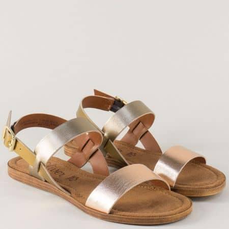 Бронзови дамски сандали S. Oliver от естествена кожа на равно ходило 528100brz