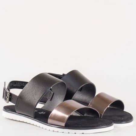 Актуални дамски сандали в черен цвят от естествена кожа на немският производител S.Oliver  528101ch