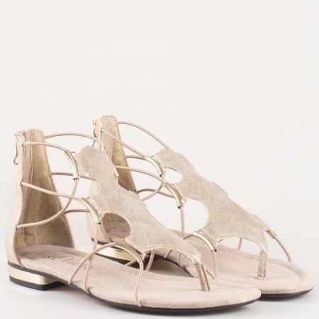 Дамск фешън сандали с цип на нисък ток- S.Oliver в златно 528107zl