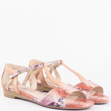 Пъстри дамски сандали на нисък ток със змийски принт от утвърден немски производител 528110k