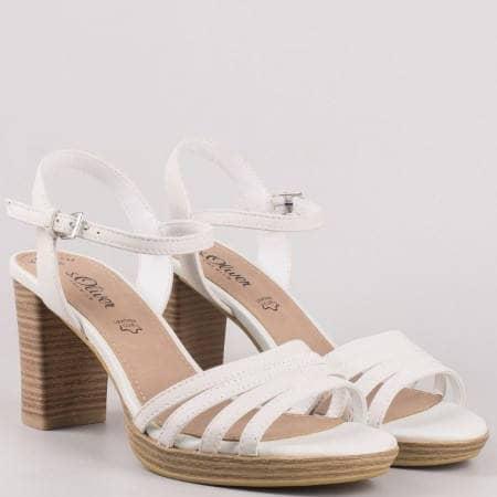 Бели сандали на висок ток от естествена кожа на немският производител S. Oliver 528312b