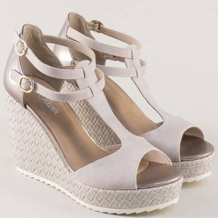 Дамски сандали на платформа в сив цвят- S.Oliver  528316sv
