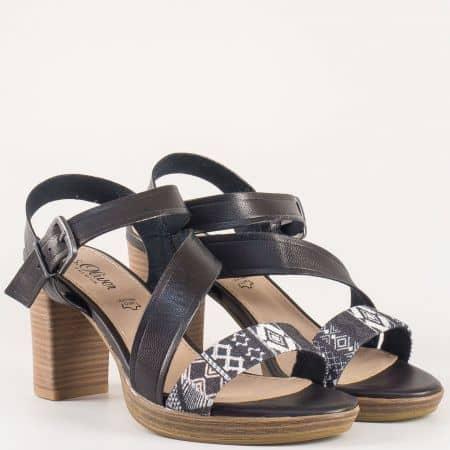 Дамски немски сандали с етно принт на висок ток в черен цвят- S.Oliver  528338ch